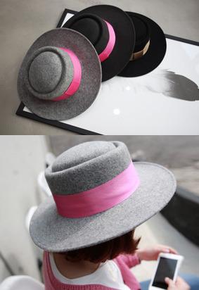 撞色帽带点缀礼帽